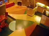 Multicolored Stain Concrete Floor in a Kitchen